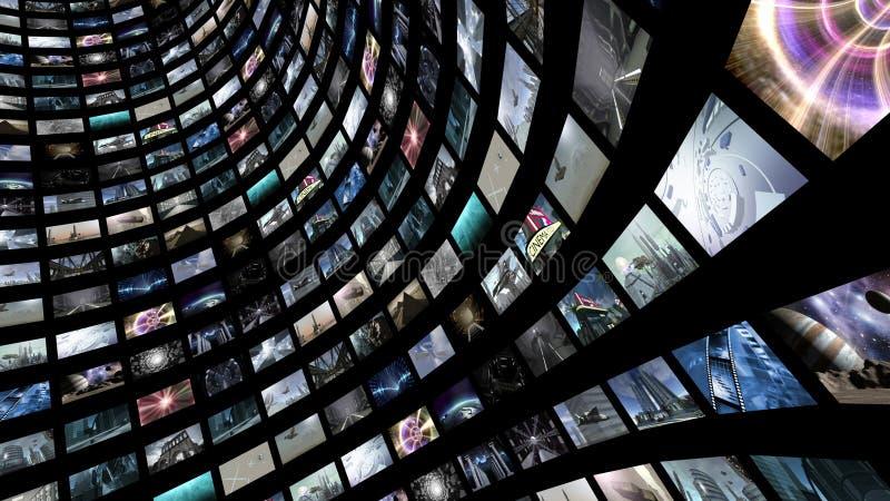 Pared video con muchos pequeños monitores stock de ilustración