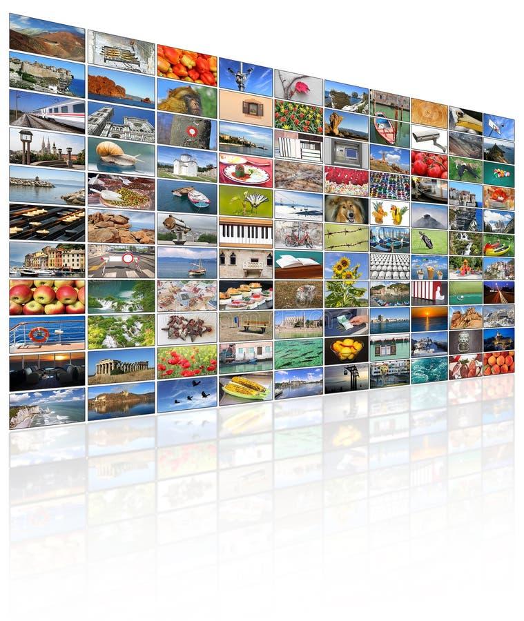 Pared video de la pantalla de la TV fotos de archivo