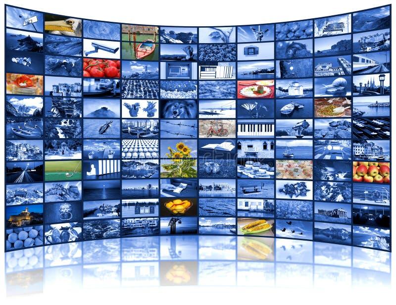 Pared video de la pantalla de la TV fotografía de archivo libre de regalías