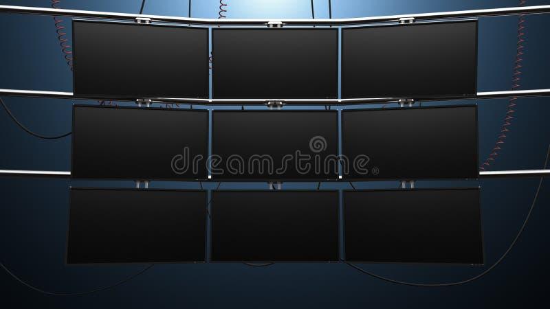 Pared video del monitor de los nueve paneles stock de ilustración