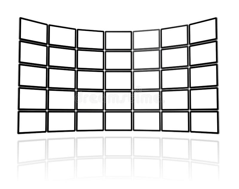 Pared video hecha de las pantallas planas de la TV stock de ilustración