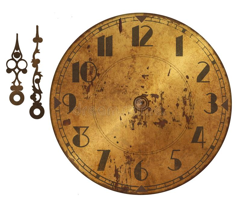 Pared vieja del Grunge del bronce del reloj rústica con la mano Art Deco imagen de archivo