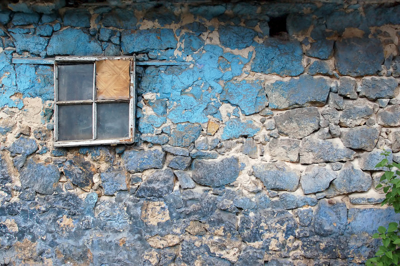 Pared vieja del grunge con la ventana foto de archivo libre de regalías