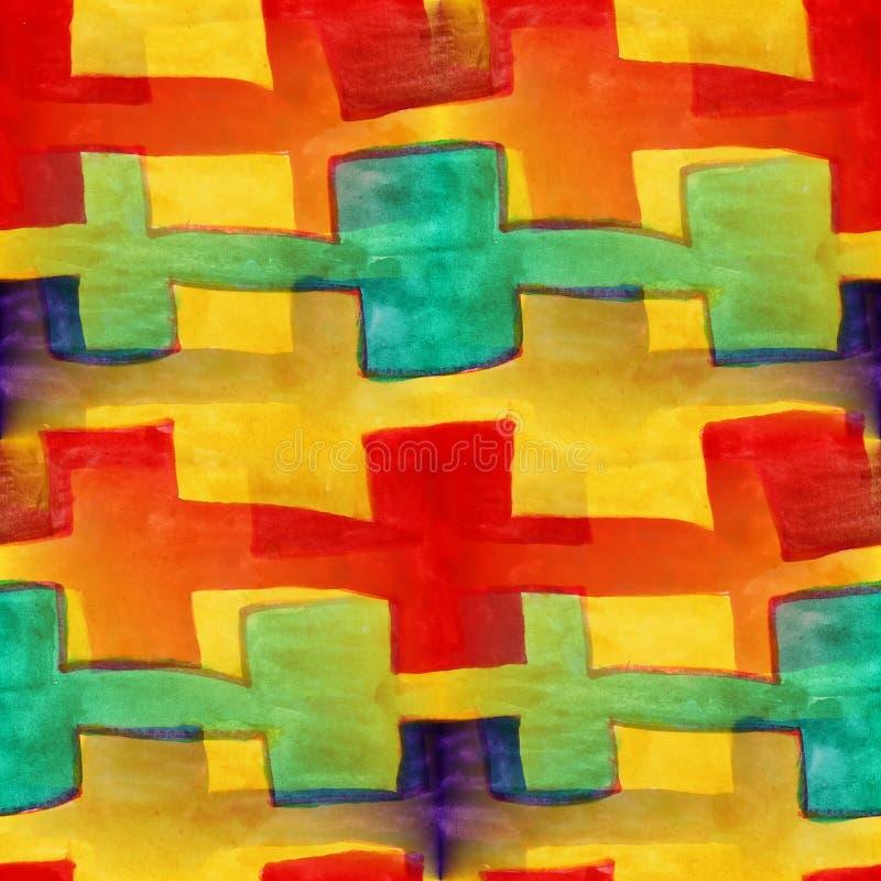 Pared violeta, amarilla, roja, azul, marrón inconsútil del artista de la acuarela ilustración del vector