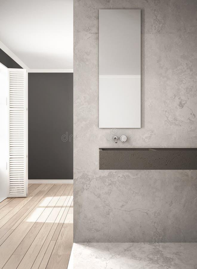 Pared y piso de entarimado, a minimalistic del primer del cuarto de baño, de mármol libre illustration