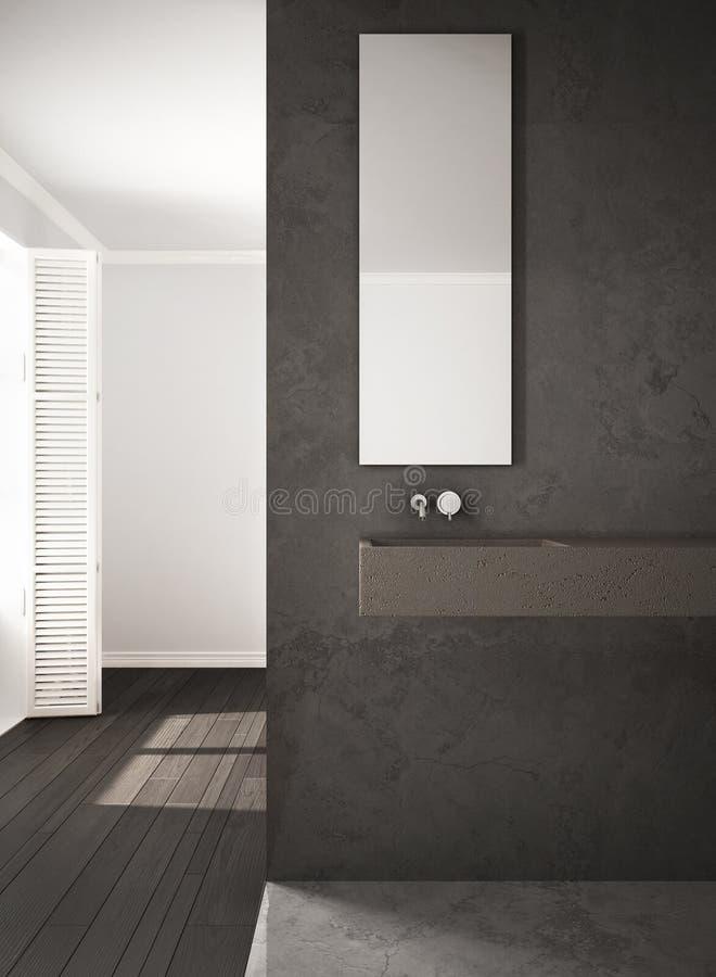 Pared y piso de entarimado, a minimalistic del primer del cuarto de baño, de mármol ilustración del vector