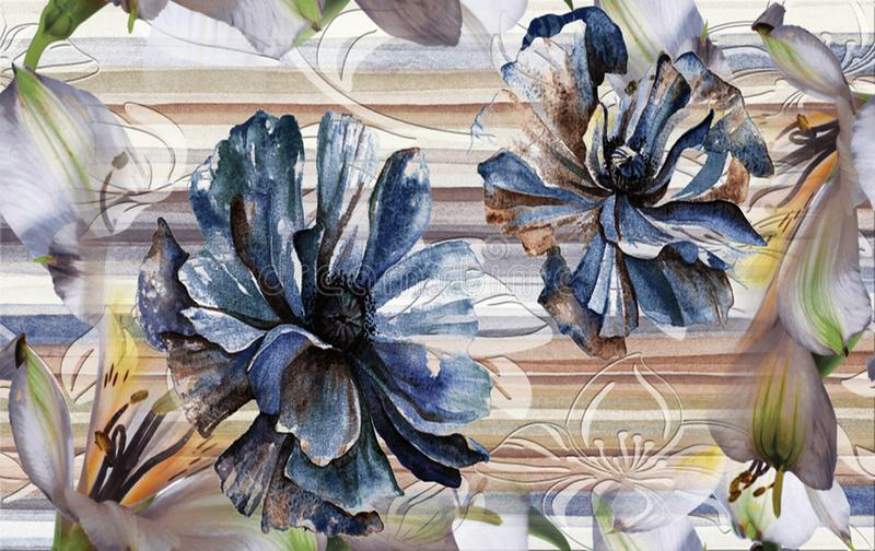 Pared y piso de mármol para la teja de la cocina y del baño para la impresión, fondo de la textura del extracto de la flor, model imágenes de archivo libres de regalías