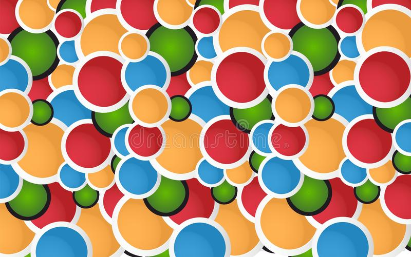 Parede abstrata Art Fun Colored Circles ilustração do vetor