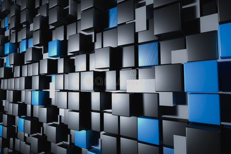 Parede abstrata dos cuboids ou dos cubos lustrosos brancos, pretos e azuis Baclground ou papel de parede conceptual ilustração royalty free
