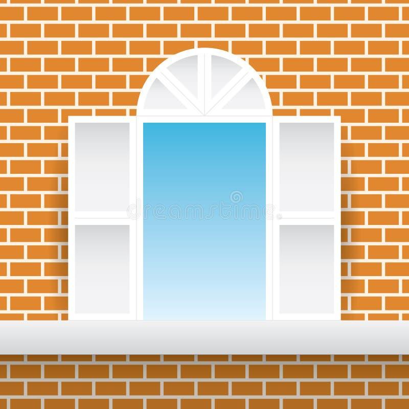 Parede alaranjada da casa do tijolo da janela do quadrado branco e fundo do céu azul ilustração stock