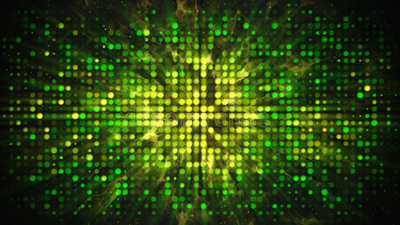 Parede amarela verde do disco com fundo do sumário das luzes de piscamento ilustração stock