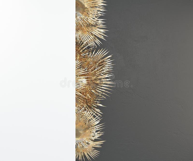 Parede ascendente trocista branca no fundo escuro com brilho de folhas de palmeira douradas rendi??o 3d ilustração royalty free