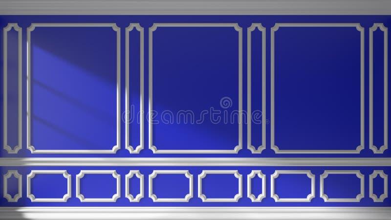 Parede azul com molde clássico ilustração royalty free