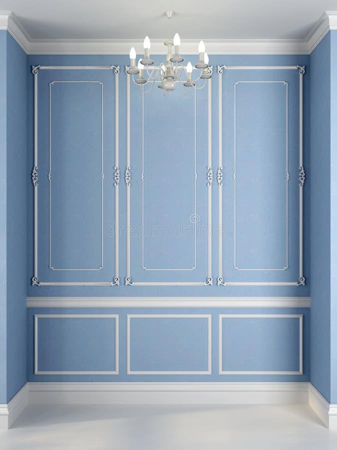 Parede azul com uma decoração branca imagem de stock royalty free