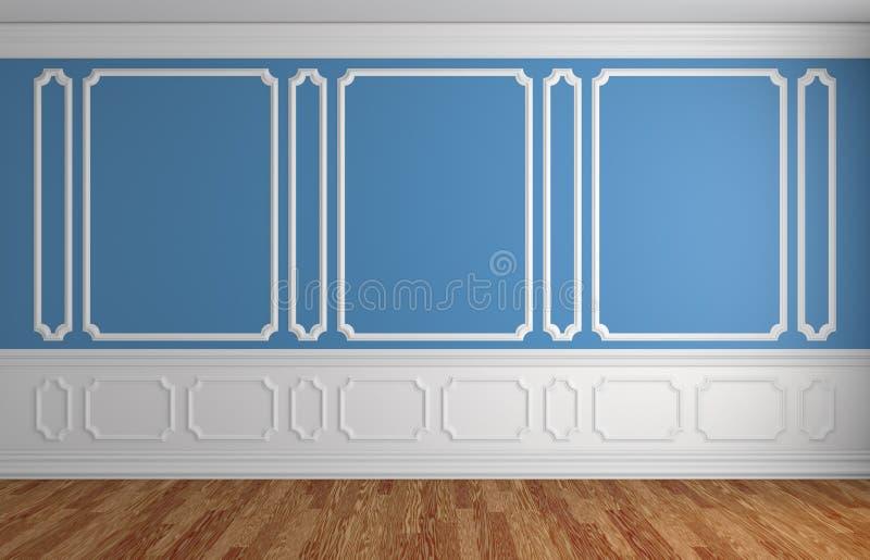 Parede azul no fundo arquitetónico da sala vazia clássica do estilo ilustração royalty free