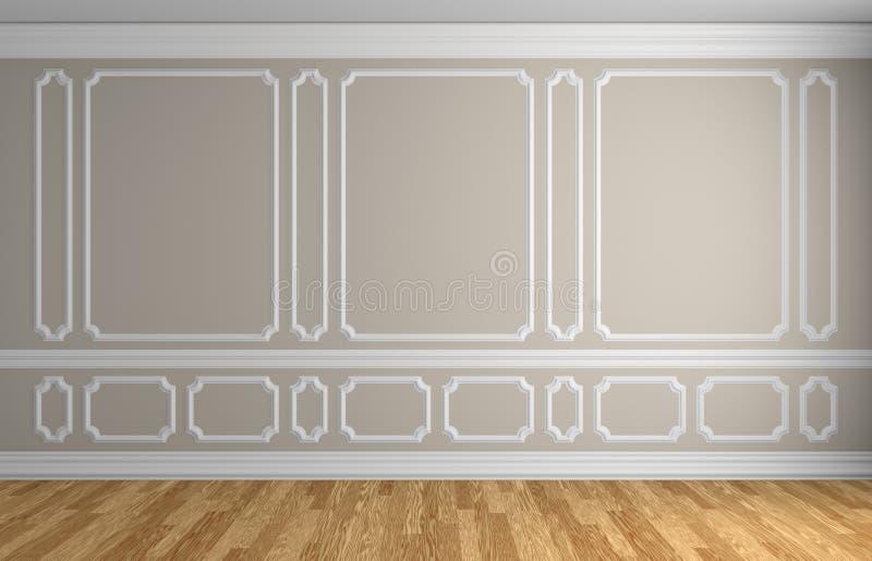 Parede bege no fundo arquitetónico da sala vazia clássica do estilo ilustração royalty free