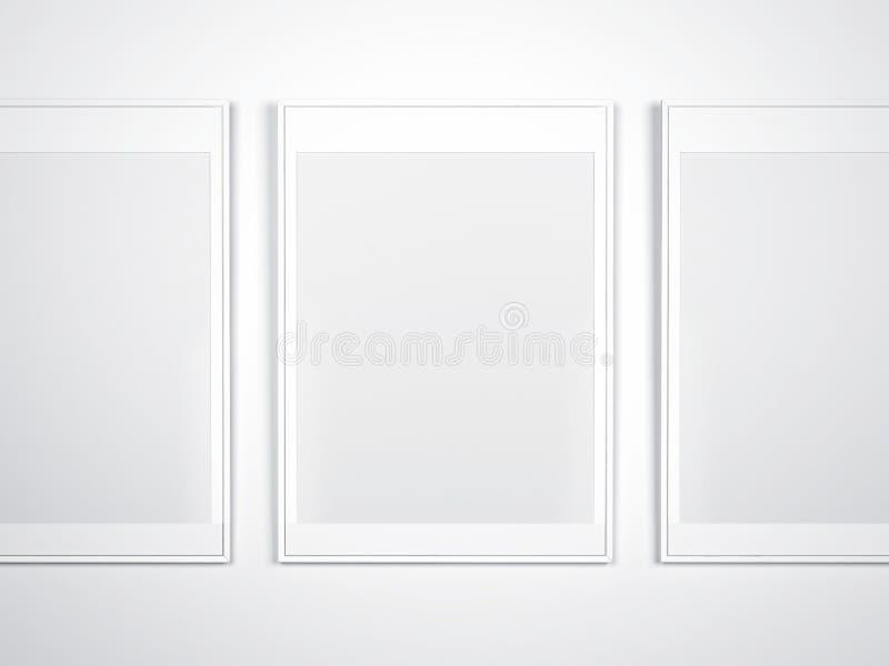Parede branca com quadros vazios fotografia de stock