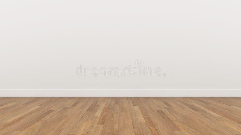 A parede branca da sala vazia e o assoalho marrom de madeira, 3d rendem ilustração do vetor