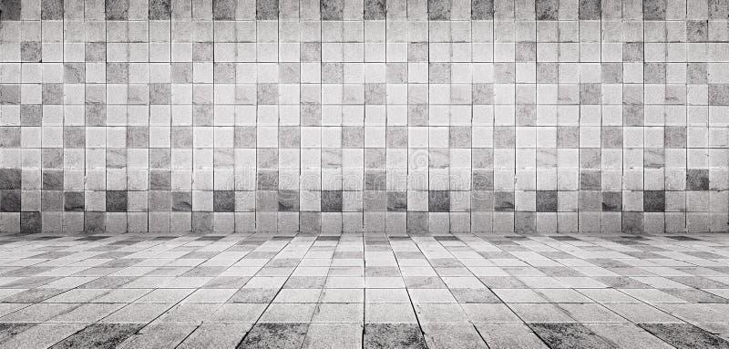 A parede branca e o assoalho da telha concreta do estilo do vintage do Grunge texture o fundo imagem de stock