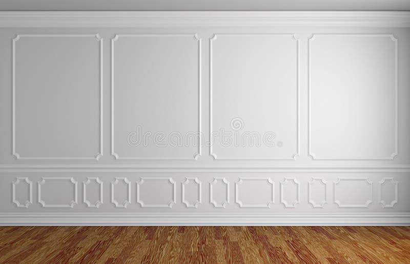 Parede branca na sala vazia do estilo clássico ilustração royalty free