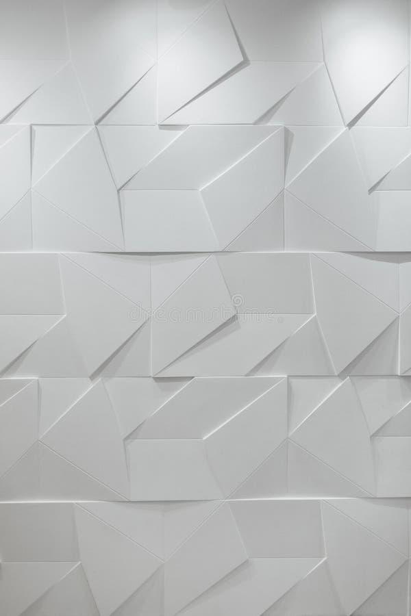 Parede branca poligonal do sólido 3D Fundo fotografia de stock