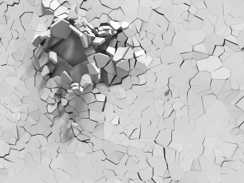 Parede branca quebrada explosão com furo rachado Backgrou abstrato ilustração royalty free