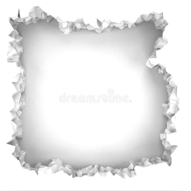 Parede branca quebrada explosão com furo rachado Backgrou abstrato ilustração do vetor