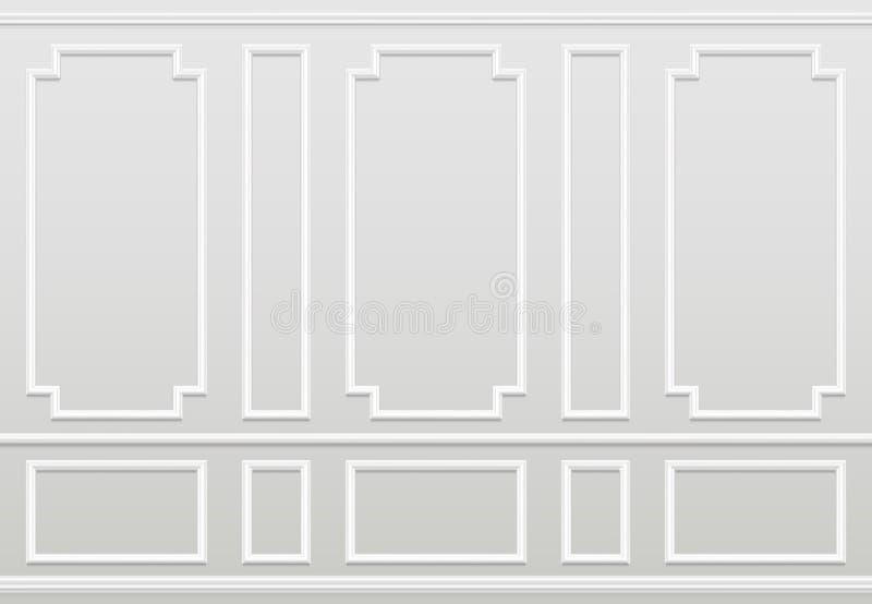 Parede branca vazia Decoração home clássica moldando dos painéis Interior do vetor da sala de visitas ilustração royalty free