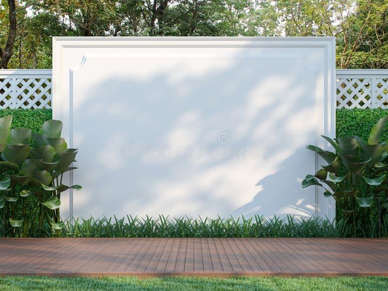 Parede branca vazia no jardim 3d para render ilustração stock