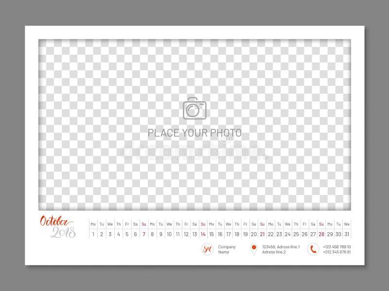 Parede calendário ano simples do outubro de 2018, liso, isolado ilustração stock