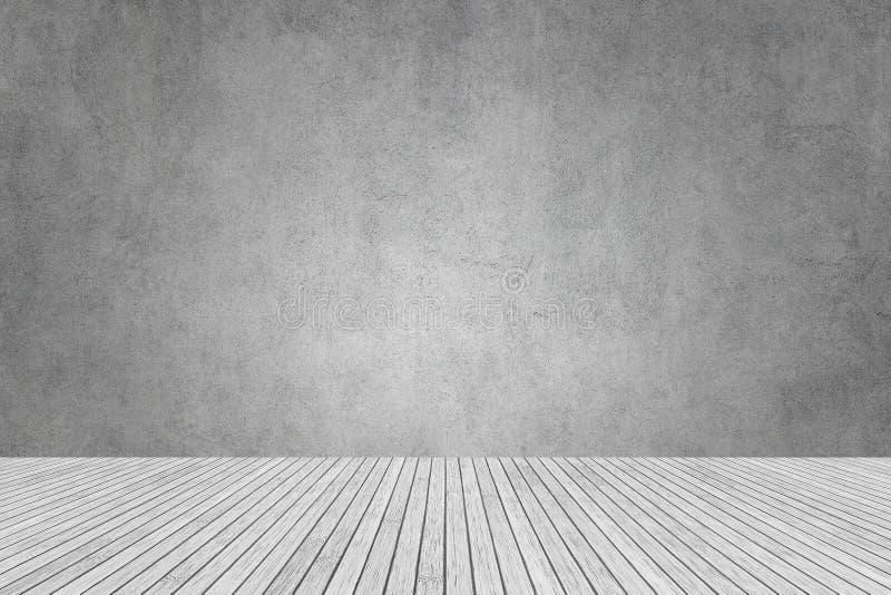 parede cinzenta de cimento e piso branco de madeira para estúdio e design de sala imagem de stock