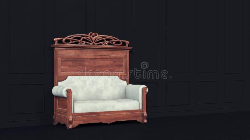 Parede clássica do preto do sofá para o projeto luxuoso do estilo de vida Projeto moderno do fundo Fundo retro do estilo Interior ilustração do vetor