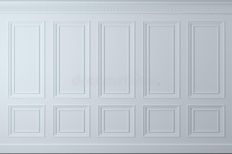 Parede clássica dos painéis de madeira brancos Obra de carpintaria no interior Fundo ilustração royalty free