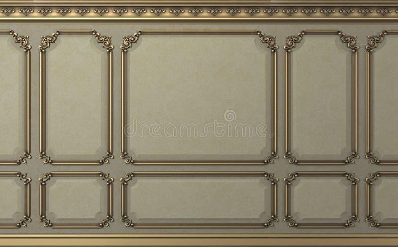Parede clássica dos painéis de madeira do biege Projeto e tecnologia fotos de stock royalty free