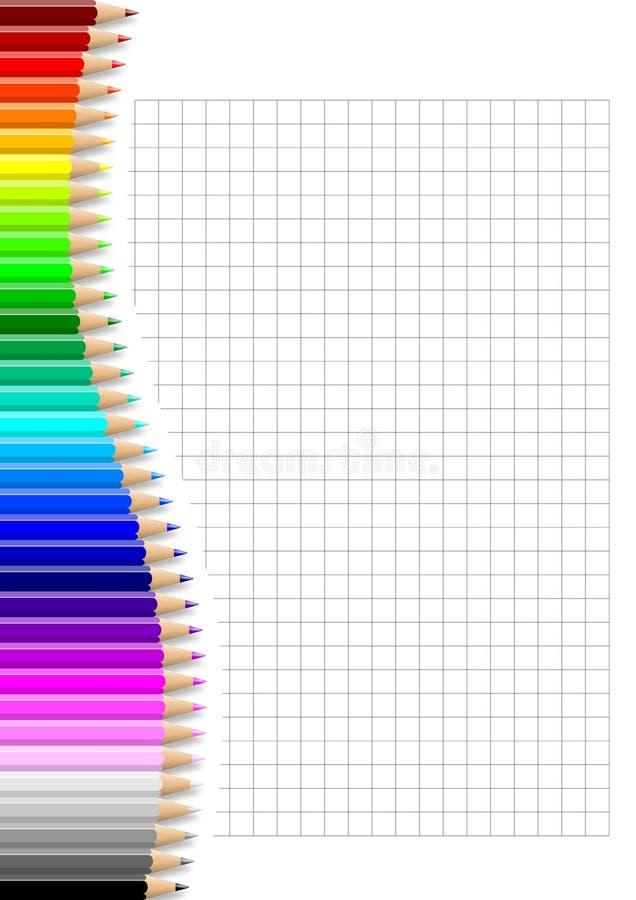 Parede colorida dos lápis na folha esquadrada do caderno ilustração do vetor