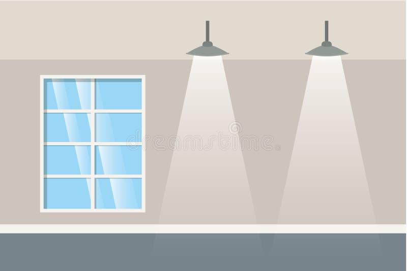 Parede com janelas e ícone isolado lâmpadas ilustração stock