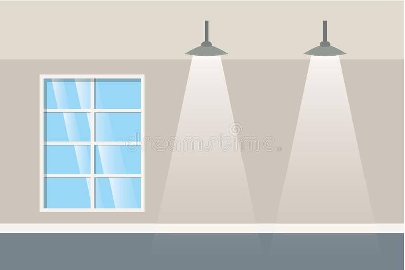 Parede com janelas e ícone isolado lâmpadas ilustração do vetor
