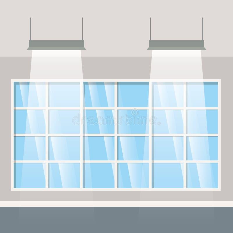 Parede com janelas e ícone isolado lâmpadas ilustração royalty free
