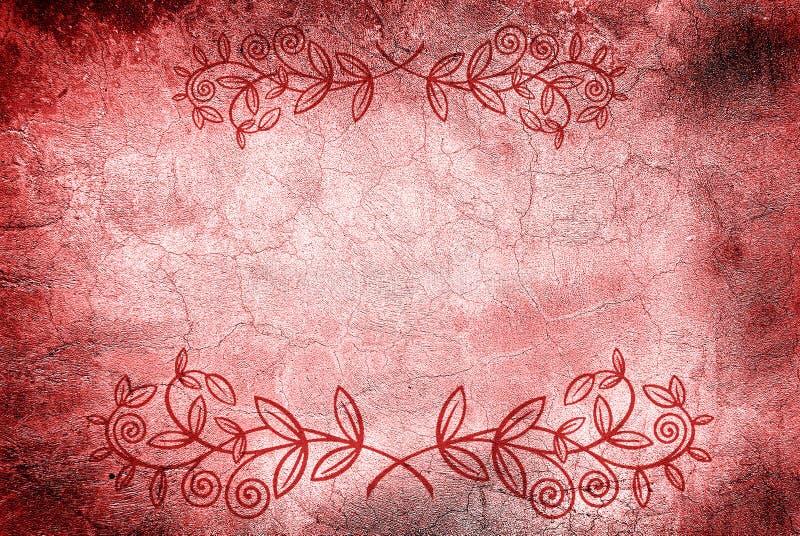 Parede com rachaduras e projeto floral ilustração royalty free