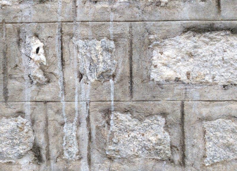 Parede concreta dos blocos do tijolo do cinza e a branca da cor imagem de stock royalty free
