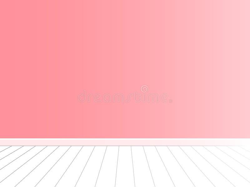 Parede cor-de-rosa com vetor branco do interior do assoalho ilustração royalty free