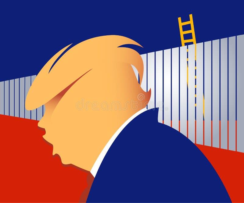 Parede da beira de Donald Trump ilustração do vetor