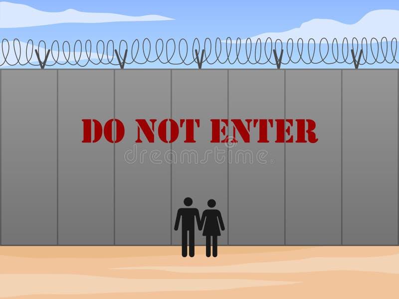 A parede da beira entre o Estados Unidos e o México com não entra assina dentro a ilustração inglesa do vetor fotografia de stock royalty free