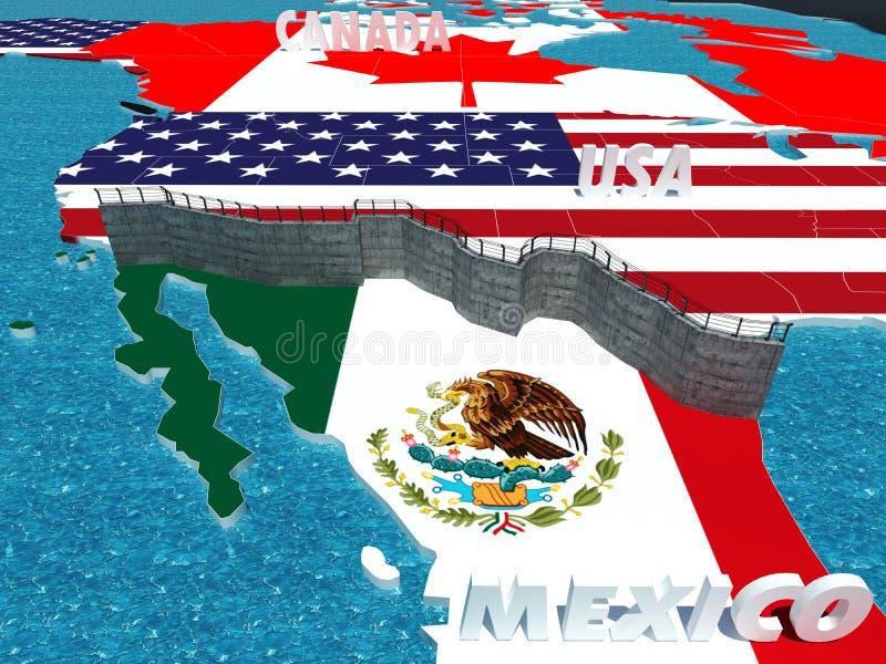 Parede da beira entre o metahpor de México e de Estados Unidos ilustração royalty free
