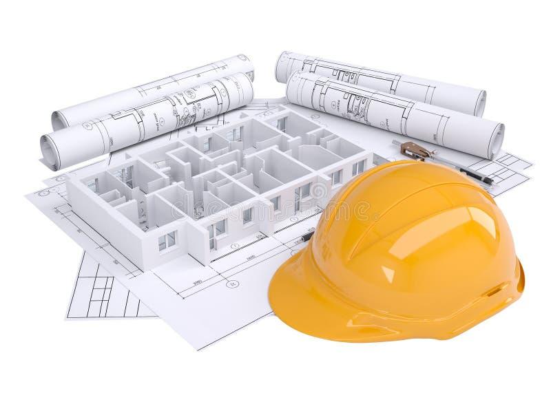 Parede da casa nos desenhos arquitectónicos ilustração stock