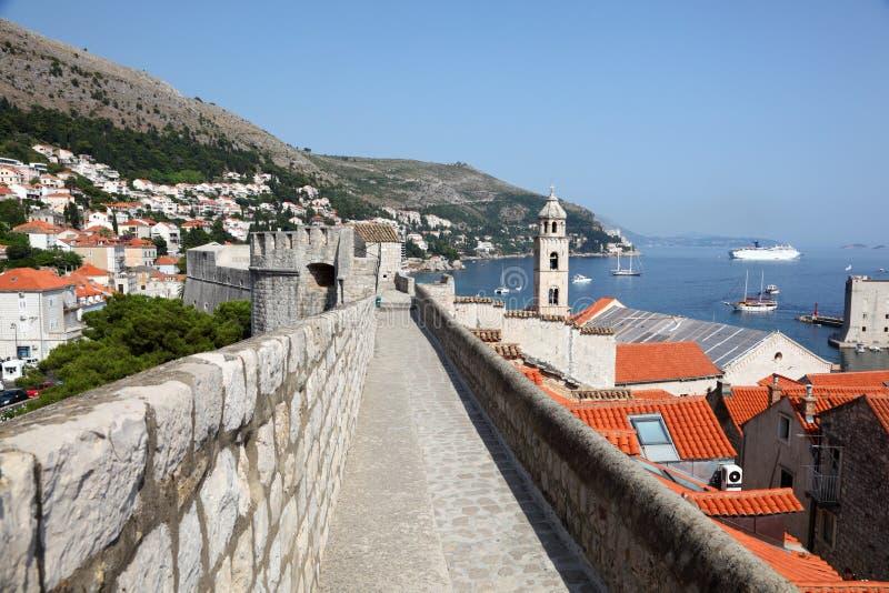 Parede da cidade de Dubrovnik, Croatia fotos de stock royalty free