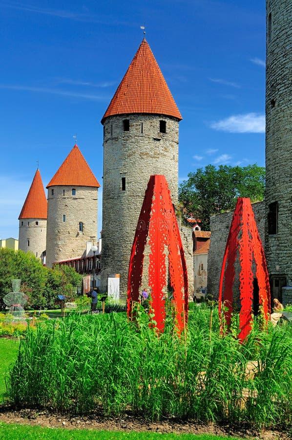 Parede da cidade de Tallinn, Estónia fotografia de stock