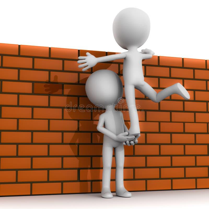 Parede da escalada dos trabalhos de equipa ilustração do vetor