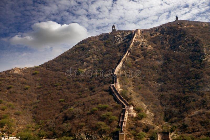Parede da fortaleza do forte ambarino India, Jaipur fotografia de stock royalty free