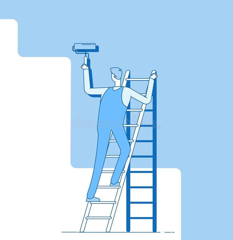Parede da pintura do pintor O trabalhador na escada, artesão pinta paredes da casa Decoração e renovação do serviço de reparações ilustração stock